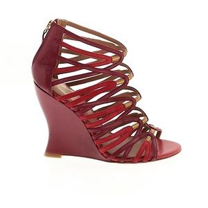 Elie Tahari Red & Gold Leather & Suede Caged Wedge